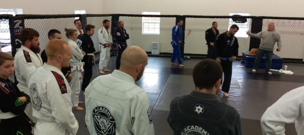 BJJ students lined up for the Shark Tank